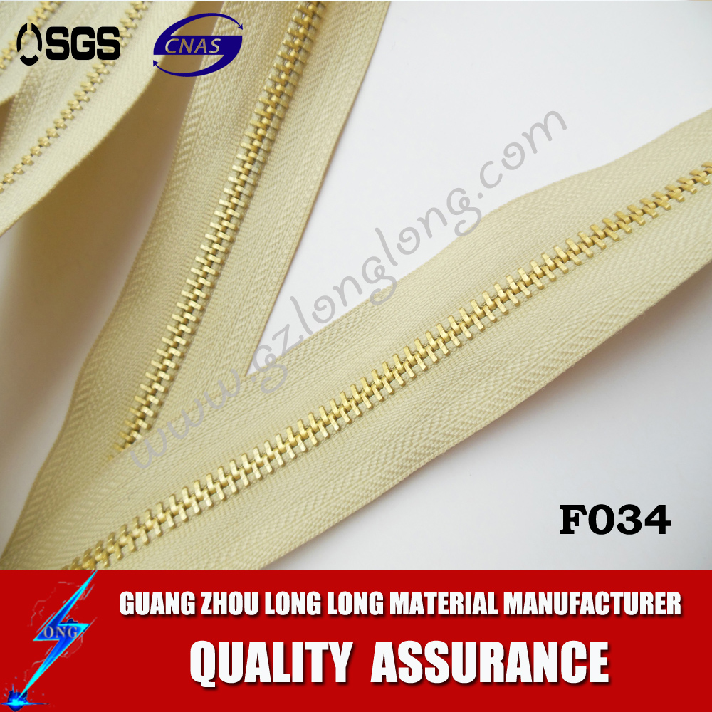 Wholesale Close End Brass Teeth Metal Zipper For Leather Jacket