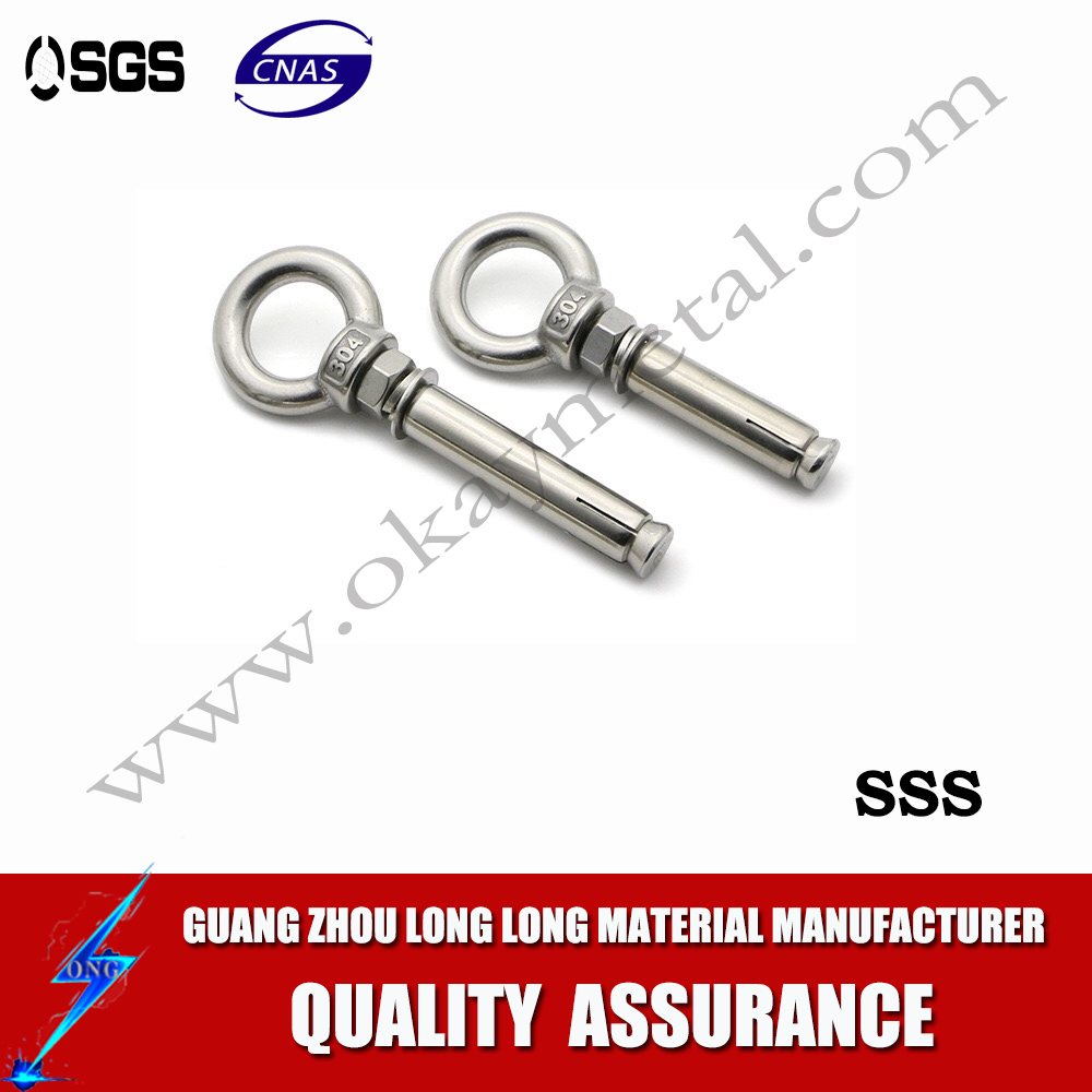 High quanlity China (mianland) standard spot sale galvanized material lengthened eye bolts and nuts M12*20