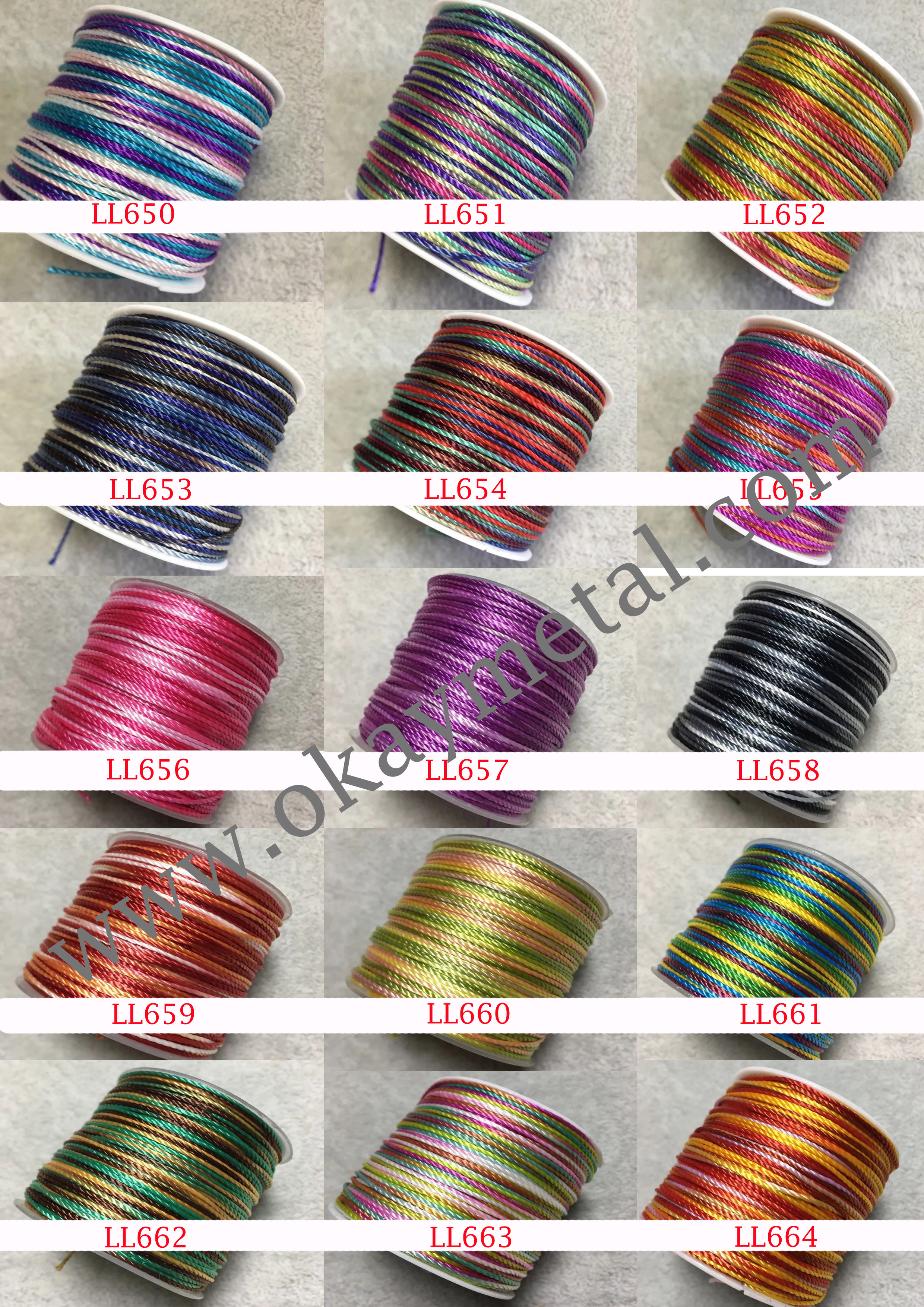 wholesale 1 mm multi color rainbow color ropes twist rope braid rope