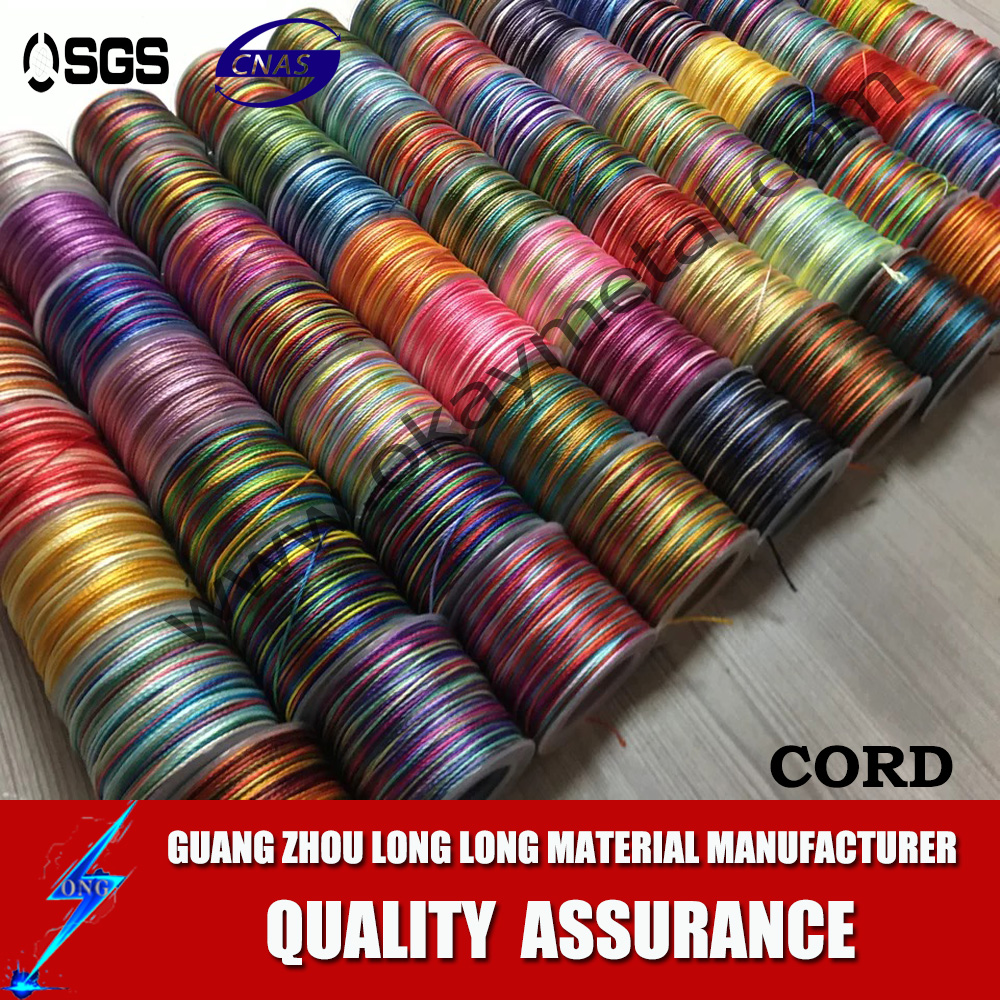 wholesale 1 mm multi color rainbow color cord  twist rope braid cord